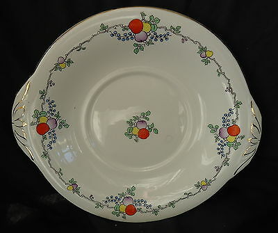 Adderley Cake Plate White With Gold Trim & Fruit & Berries Design.Size 23 x 21cm