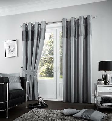 New Charcoal Grey Pleated Plain Eyelet Ring Top Fully Lined Curtains