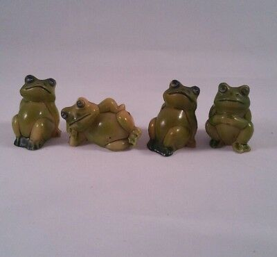 4 Vintage Mini Plastic Frog Figurines Made in Hong Kong