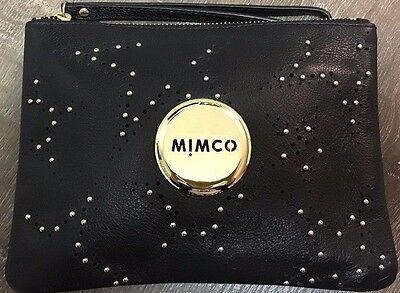 MIMCO Black Soft Leather Studded Medium Pouch Clutch Wallet Purse AUTH