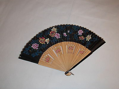 "Black Hand Painted Silk and Bamboo Folding Fan 16"" Open"