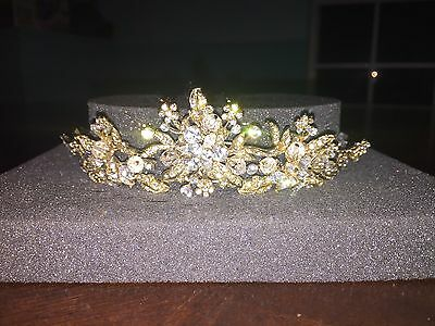 Ansonia Bridal Tiara / Headpiece Gold With Crystals