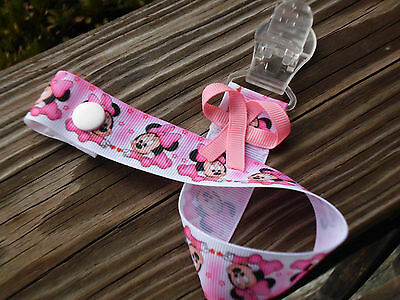 Pacifier Holder Baby Minnie Girl Ribbon with Safe Plastic snaps & gripper teeth