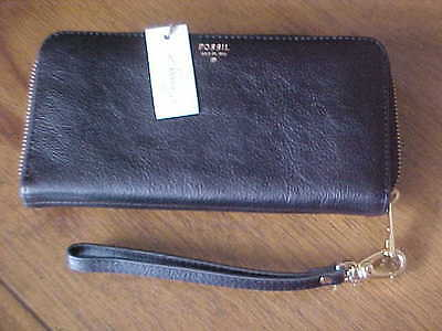 FOSSIL Sydney Leather Large Zip Clutch Wallet Wristlet Retails $80 - NWT