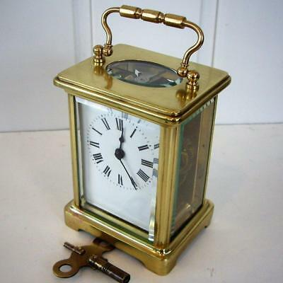 ANTIQUE FIVE GLASS FRENCH CARRIAGE CLOCK. Good Working Order.