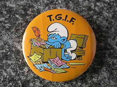Smurf Badge Button with clip Smurf T.G.I.F Thank God Its Friday vintage rare