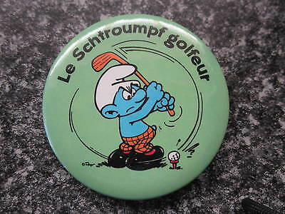Smurf Badge or Button with clip Golfer Smurf vintage rare