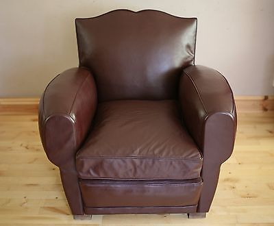 Vintage Leather French Moustache  Club Chair / Armchair.