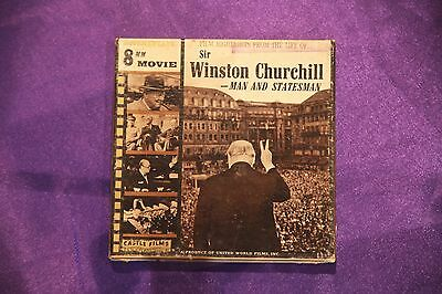 Sir Winston Churchill - man and statesman. Standard 8mm film.