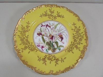 T&V Limoges Depose Signed Hand Painted Odontoglossum Orchid Cabinet Plate