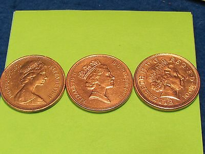 British copper coins (lot of 3) 3 ages 0f Queen ..combine shipping and save $$$