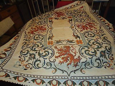 "Antique Off White Tablecloth Cross Stitch Needlepoint Handmade Lions 51""Wx59.5""L"