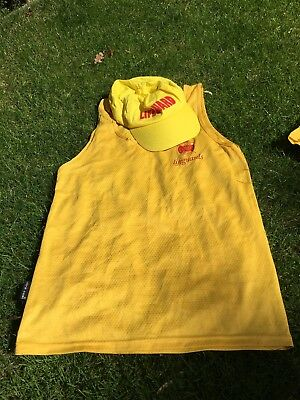 RLSS Lifeguard Yellow Vest And Suncap Set Hat Cap Medium