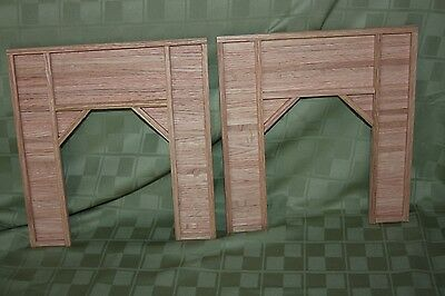 Pair of S gauge handmade oak tunnel portals for American Flyer and other S ga.