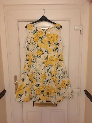 Bnwt Oasis Yellow Flower Dress Size 18 Wedding Races Party Summer