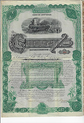 NEW YORK  1887 Chautauqua Lake Railway Company Bond Stock Certificate