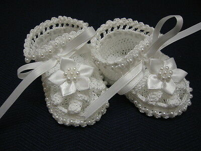 Baby Christening Booties, Crochet Baby Girl Booties, Blessing, Baptism Shoes