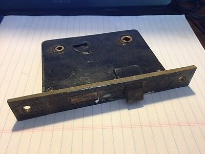 Antique Vintage R.h.co. Cast Iron & Brass Mortise Lock