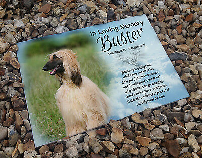 Personalised white cermaic tile headstone memorial plaque Afghan hound pet Dog
