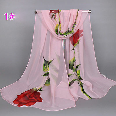 New Pink Women Long Rose Flower Print Chiffon Scarf Soft Wrap Lady Shawl Silk