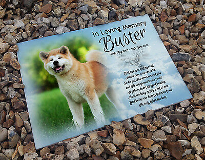 Personalised white cermaic tile headstone memorial plaque Akita pet Dog gift