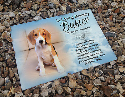 Personalised white cermaic tile headstone memorial plaque Beagle pet Dog gift