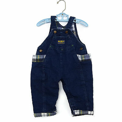 OshKosh Baby Overalls Flannel Lined Plaid Denim Blue Jean Bibs 18 Months USA