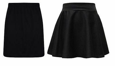 Girls Black Skater/Pencil Skirt Kids Fashion School Clothes Age 7-13 Years