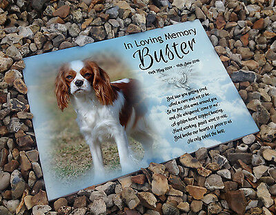 Personalised white cermaic tile headstone memorial plaque Cavalier king charles