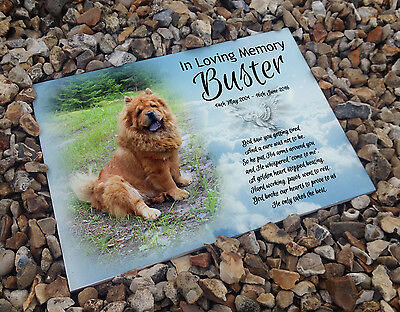 Personalised white cermaic tile headstone memorial plaque Chow Chow dog gift