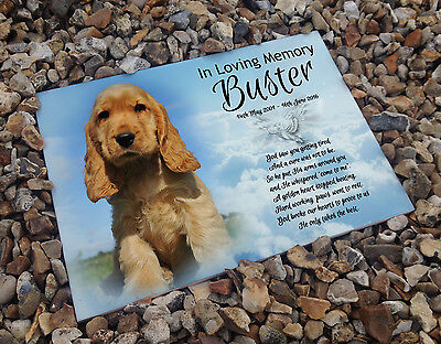 Personalised white cermaic tile headstone memorial plaque Cocker spaniel dog