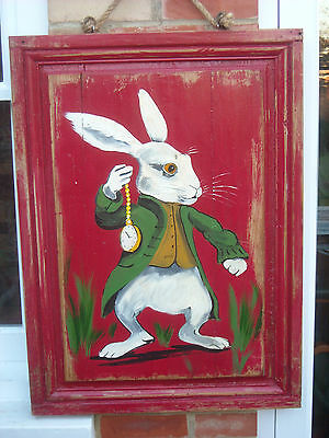 "An Original Oil on Panel - White Rabbit - Alice in Wonderland - 34"" by 24"""
