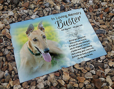 Personalised white cermaic tile headstone memorial plaque Greyhound dog gift