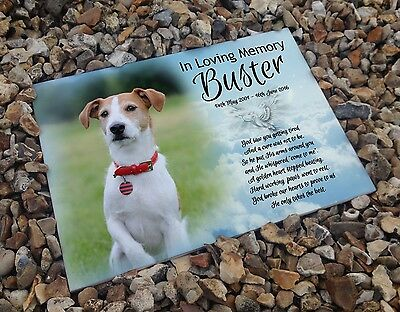 Personalised white cermaic tile headstone memorial plaque Jack Russell dog gift