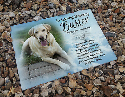 Personalised white cermaic tile headstone memorial plaque Labrador dog gift