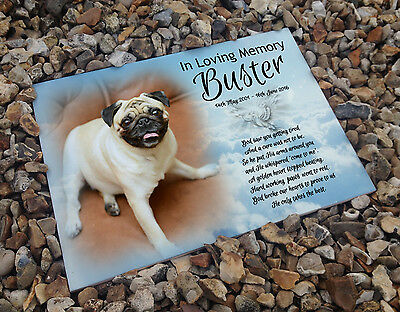 Personalised white cermaic tile headstone memorial plaque Pug memory dog gift