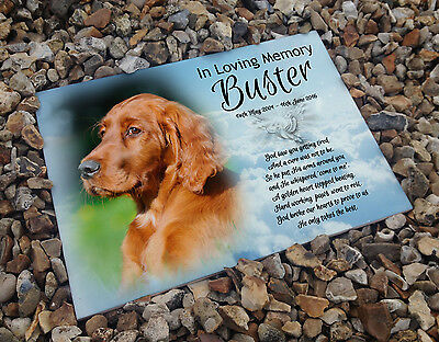 Personalised white cermaic tile headstone memorial plaque Red Setter dog gift