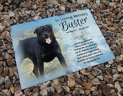 Personalised white cermaic tile headstone memorial plaque Rottweiler dog gift