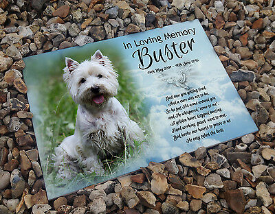 Personalised white cermaic tile headstone memorial plaque West highland terrier