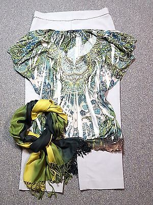 WOMEN'S PLUS SIZE CLOTHING Lot of 3 Size 16 XL  Capri Embellished Top  Scarf