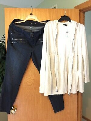 Cute Womens Plus Torrid outfit!  18R Jeggings Jeans & 2 2x cardigan top!  NWT!