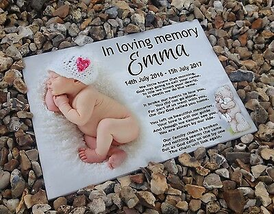 Personalised white cermaic tile headstone memorial Newborn baby Bereavemet gift