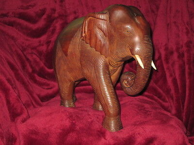 """12""""  VINTAGE HAND CARVED TEAK ELEPHANT,   From Siam  ~ 1940's"""