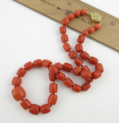 Antique Natural Ethnic Red Coral Bead Necklace with 14K gold clasp chinese beads