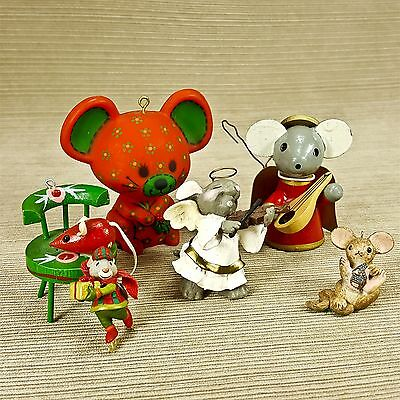"Mice Christmas Ornament 6pc Wood Chair Angel w/ Violin Ice Skater Red 3"" Mouse"