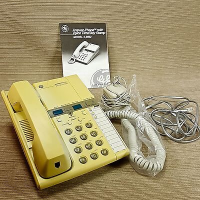 GE Telephone Phone w Voice Time Day Stamp Micro Cassette Answering System 2-9892