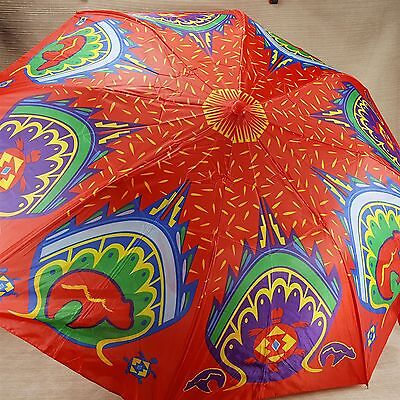 Peacock Feather Pattern Adult Red Colorful Umbrella Turtle Bear Symbols