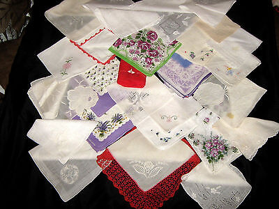 27 MISC. Vintage HANKIES LOT*All with slight flaw*NOT BAD ENOUGH TO BE CUTTERS*