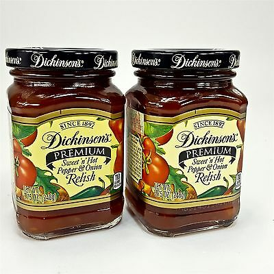 Dickinson's Premium Relish Sweet n Hot Pepper & Onion 2 Pack Glass Jars 8.75 oz