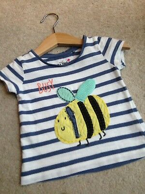 Baby Girl Next Busy Bee Tshirt Top Blue White Stripe 3-6 Months